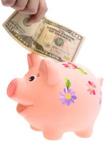 Someone puts money in a cute piggy bank.
